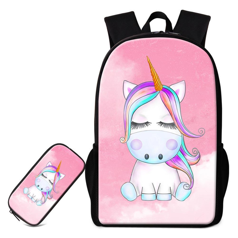 f9b6f4dce8 Set School Bag With Pencil Box Bag For Girls Cute Unicorn Designer Backpacks  To School Women S Fashion Shoulder Bags Children Rucksack Ladies Handbags  Book ...