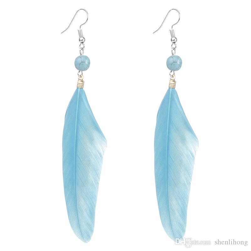 2019 Hot!feather Fish Hook Earring Turquoise Color Earring Trend 2018  Silver New Arrival Jewelry Drop Shipping From Shenlihong 22a3a04d6865