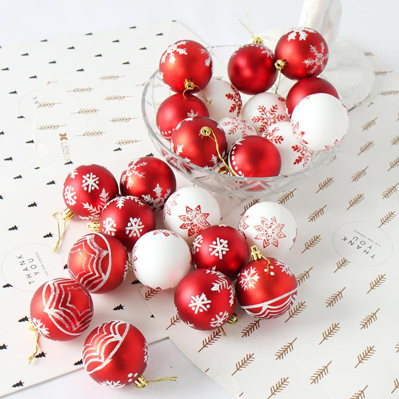 24pcs 6cm Rose Gold Red Christmas Tree Ball Baubles Party Wedding Hanging Ornament Christmas Decoration Supplies For Home Decor