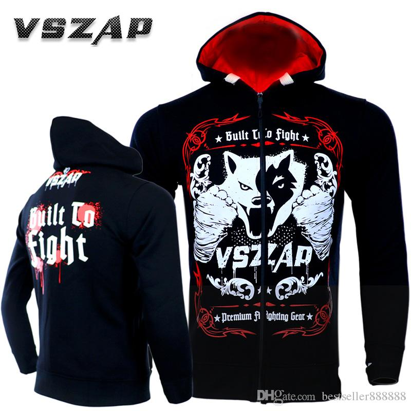 VSZAP Fight fight Wolf hoodie long sleeve hoodie coat MMA sports training  fitness fighting running man