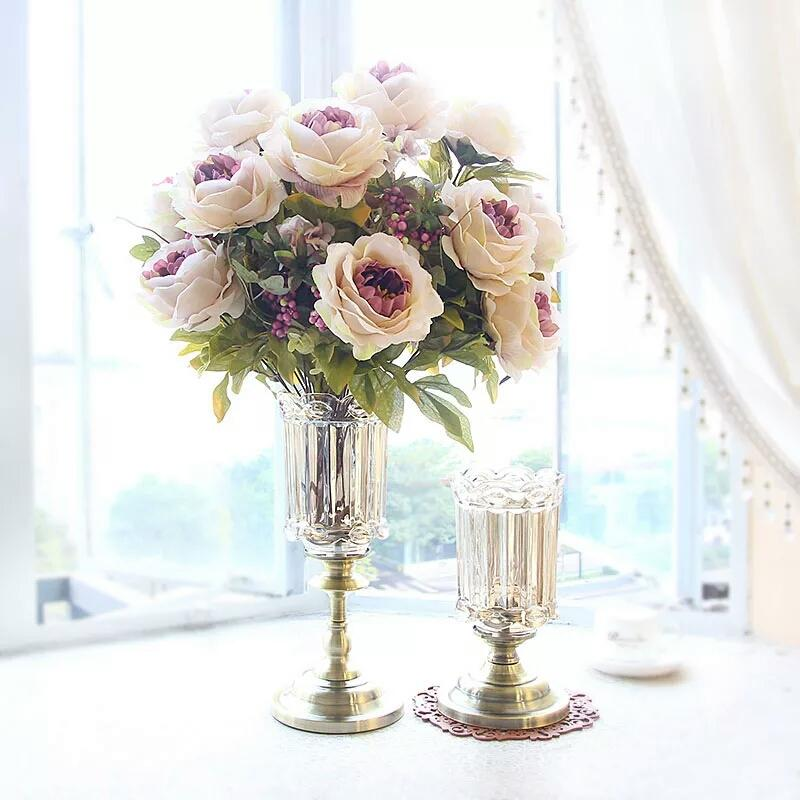 European Glass Vase Decoration Table Living Room Dried Flowers