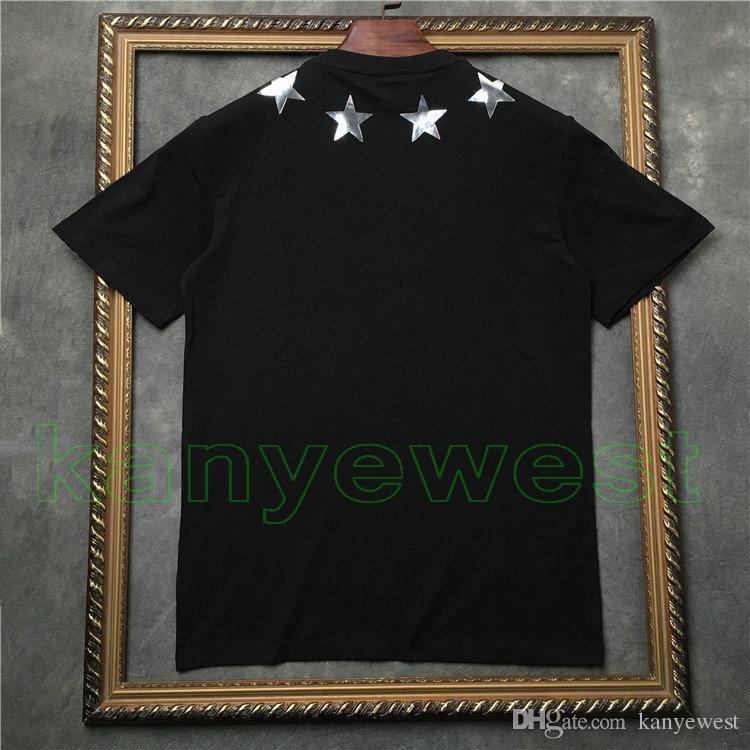 2018 yeni yaz Lüks erkek Boyun Çizgisi stereoskopik sequins pentagram çıkartmaları t shirt yıldız pamuk t gömlek casual Tasarımcı tshirt tee tops