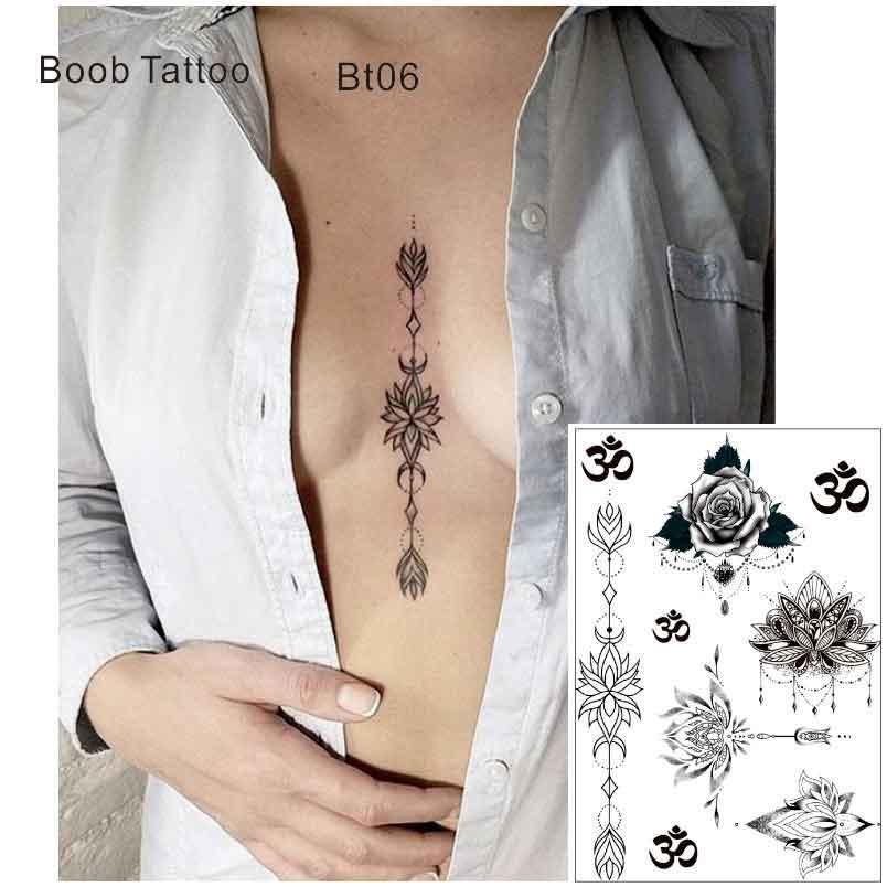 Acheter Bt06 Sous Poitrine Tatouage Temporaire Sternum Avec Lotus