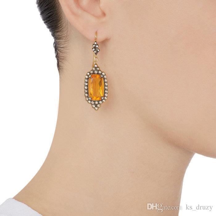 Hexágono Brincos Jóia De Prata Do Vintage Preto Geometria De Cristal De Pedra Dangle Brincos para Mulheres Presente