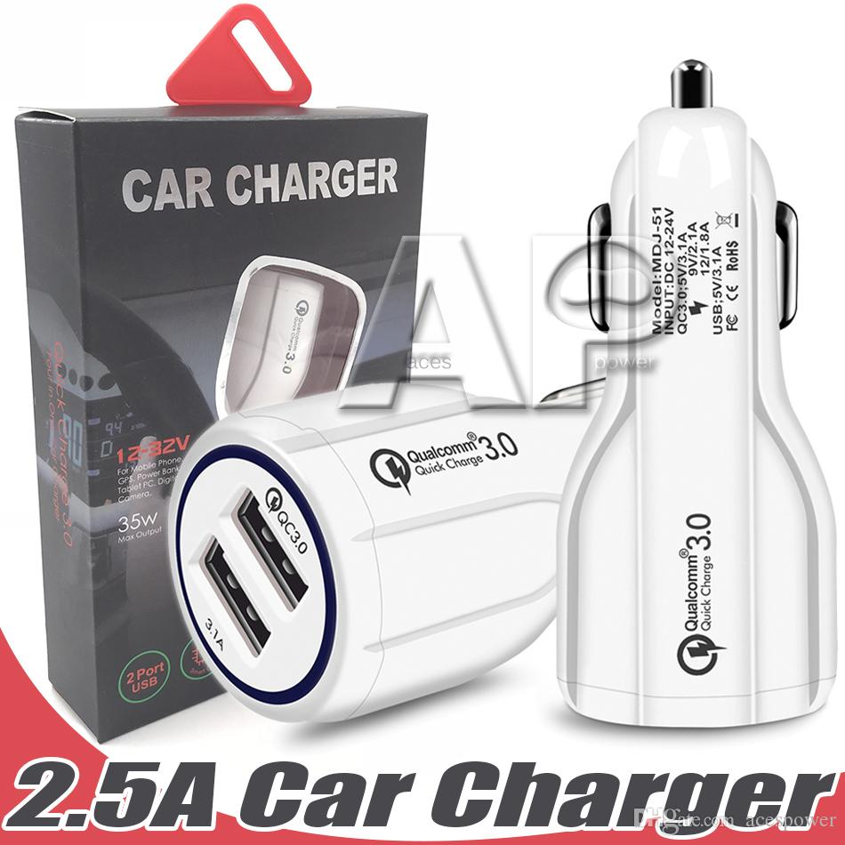 Car Charger 2.4A For Samsung Galaxy S20 Utra Car-charger Adapter USB 2 Port Universal with Retail Package