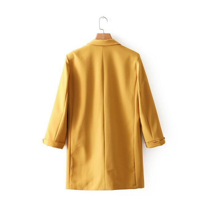 Bahar Kadınlar Sarı Blazers ve Ceketler Gevşek Takım Elbise Ceket Ofis Lady Uzun Blazer Üç Çeyrek Kollu Ceket