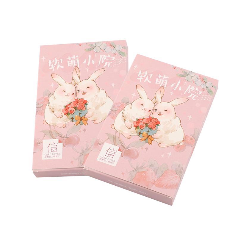 4packkawaii Pink Cartoon Rabbit Bird Postcard Greeting Card Message