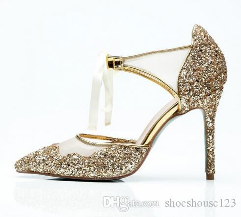 2018 Gold Glitter Leather Lace Up Women Pumps Ankle Strap High Heels Shoes  Sexy Pointed Toe Stiletto Heels Ladies Shoes Gladiator Sandals Wedding Shoes  From ... c96d1e28f3e8