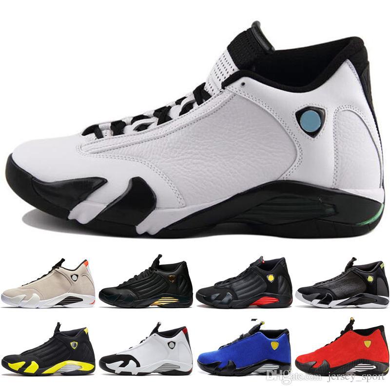 c99ac65b88e785 2019 14 14s Mens Basketball Shoes Desert Sand DMP Last Shot Indiglo Thunder  Red Suede Oxidized Black Toe Men Sports Sneaker Outdoor Designer From ...