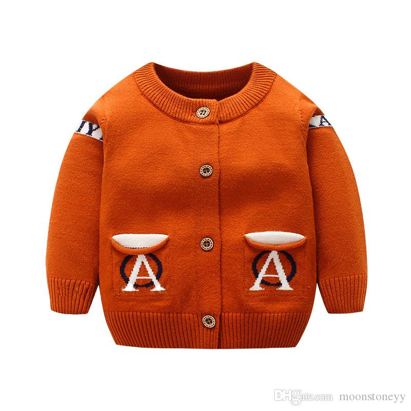 319dc387b96f Fashion Letter Baby Sweater Long Sleeve O Neck Cardigan For Boys ...