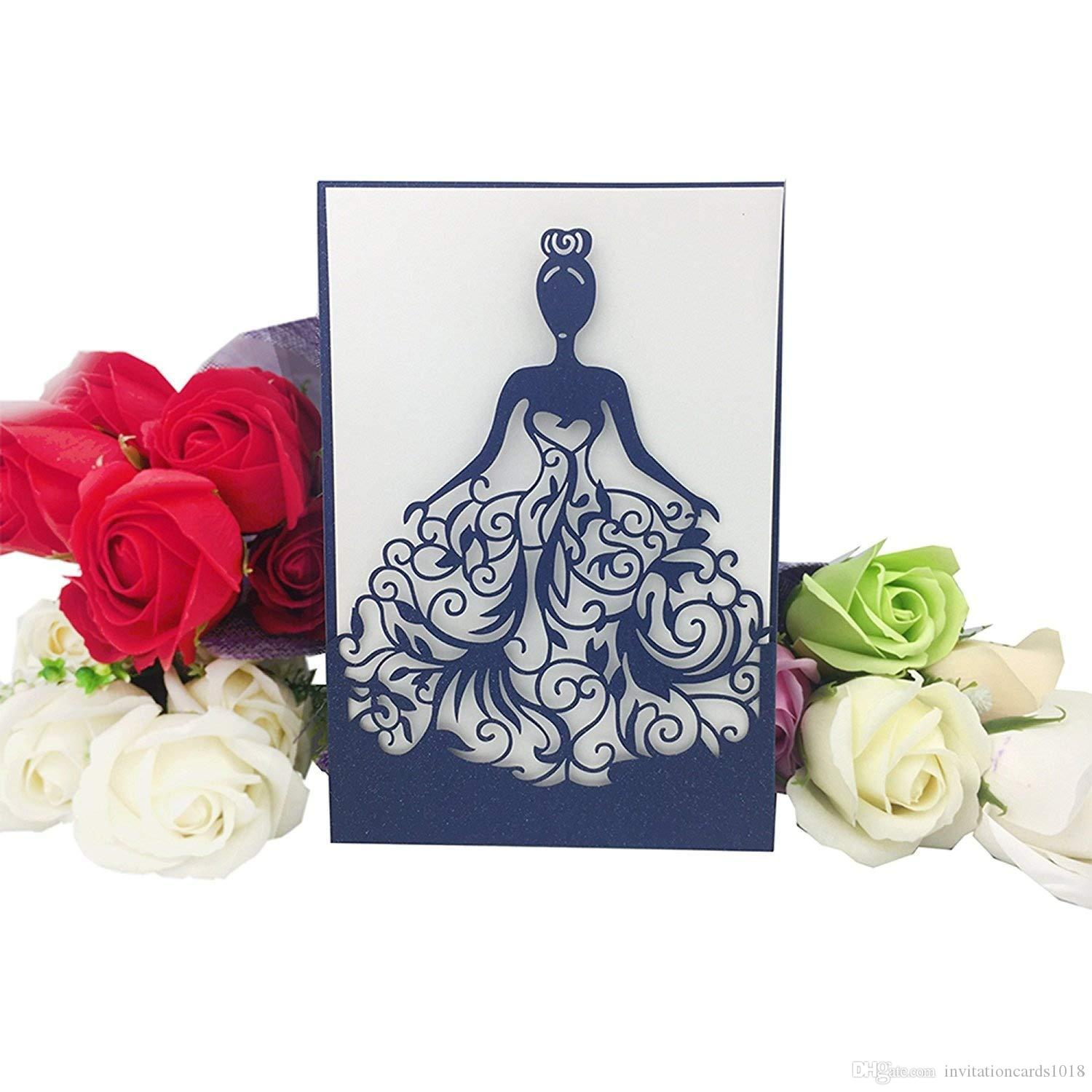 Laser Cut Navy Blue Crown Princess Invitations Cards For Business