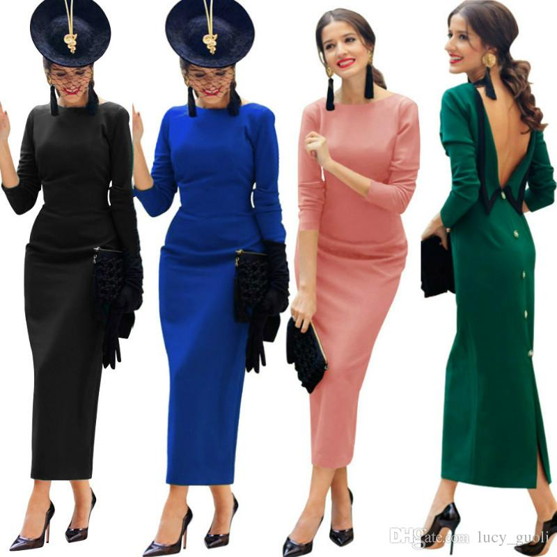 Womens Sexy Long Sleeve Bandage Dress 2018 Fashion Party Clubwear Winter  Backless Black Bodycon Dresses Hollow Out Long Maxi Bandage Dress Designer  Evening ... dce7c64e0fe2