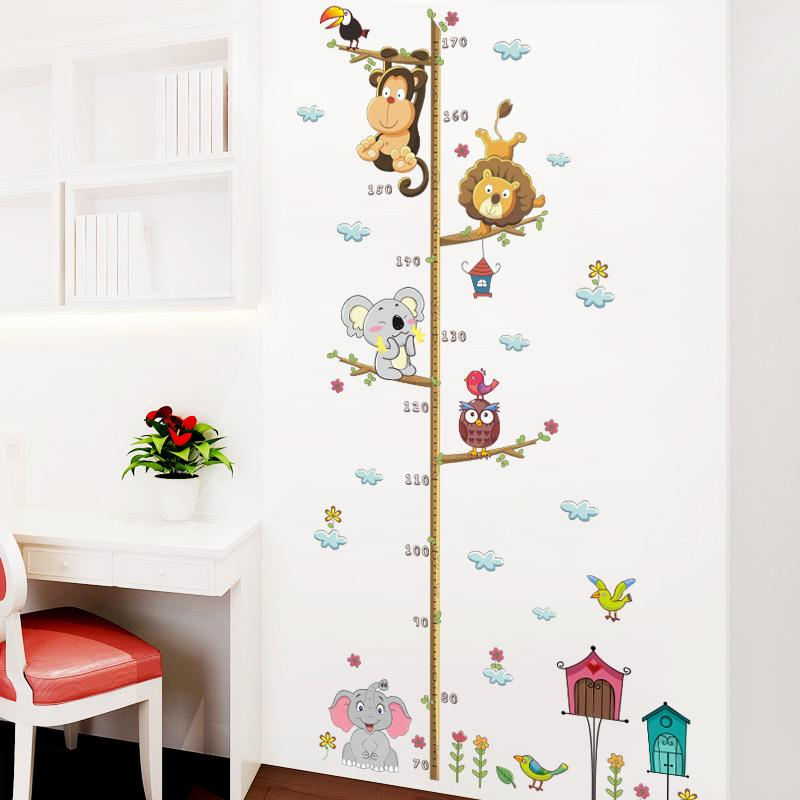 Forest Animals Lion Monkey Owl Bird House Tree Height Measure Wall Sticker For Kids Rooms Poster Growth Chart Home Decor Decal
