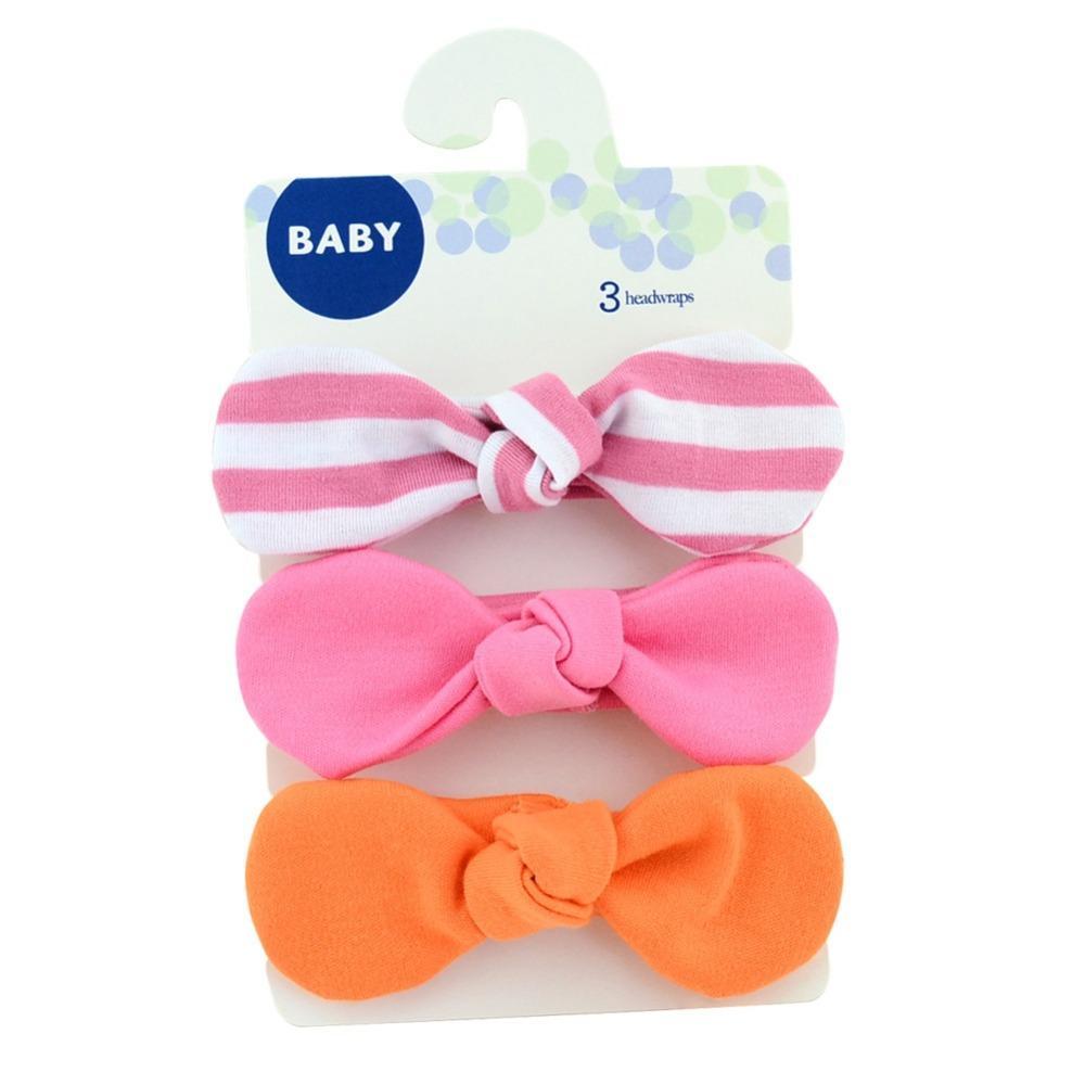 1 conjunto 3 peças Crianças Bowknot Headband faixas de Cabelo Turbante Coelho Headwear Com Cartão Meninas Acessórios Para o Cabelo Faixas de Cabelo Elástico 749