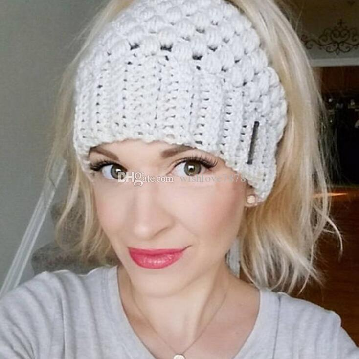 5d9e6602 2019 New Women Ponytail Beanies Hand Made Back Hole Pony Tail Knitted Hats  Winter Warm Crochet Skull Beanie Crochet Beanie Beanies For Girls From ...
