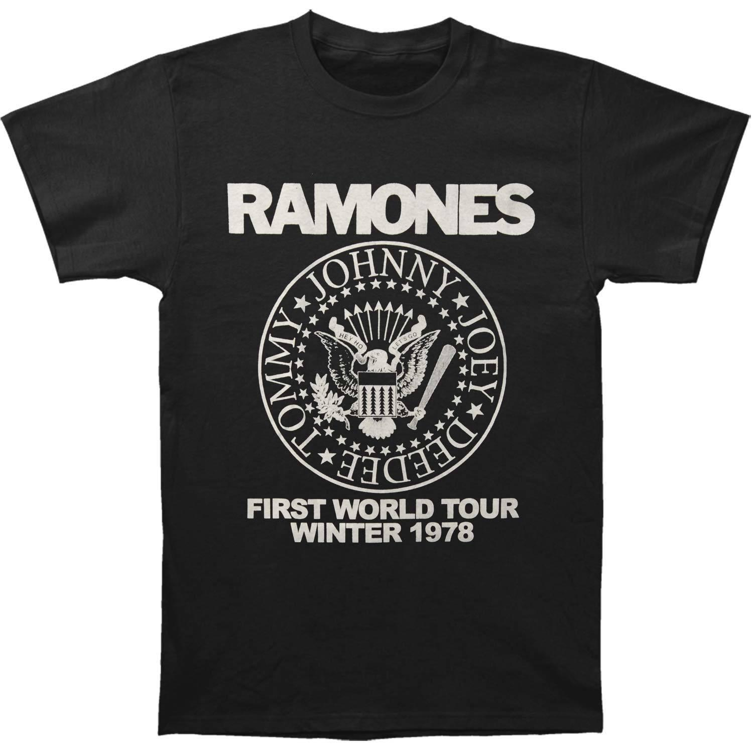 Printed t shirt mens short sleeve o neck t shirts summer stree twear ramones mens first world tour t shirt black online with 12 99 piece on cingostores