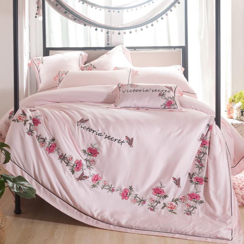 Großhandel Luxus Stickerei Tencel Silk Sommer Bettwäsche Set 47