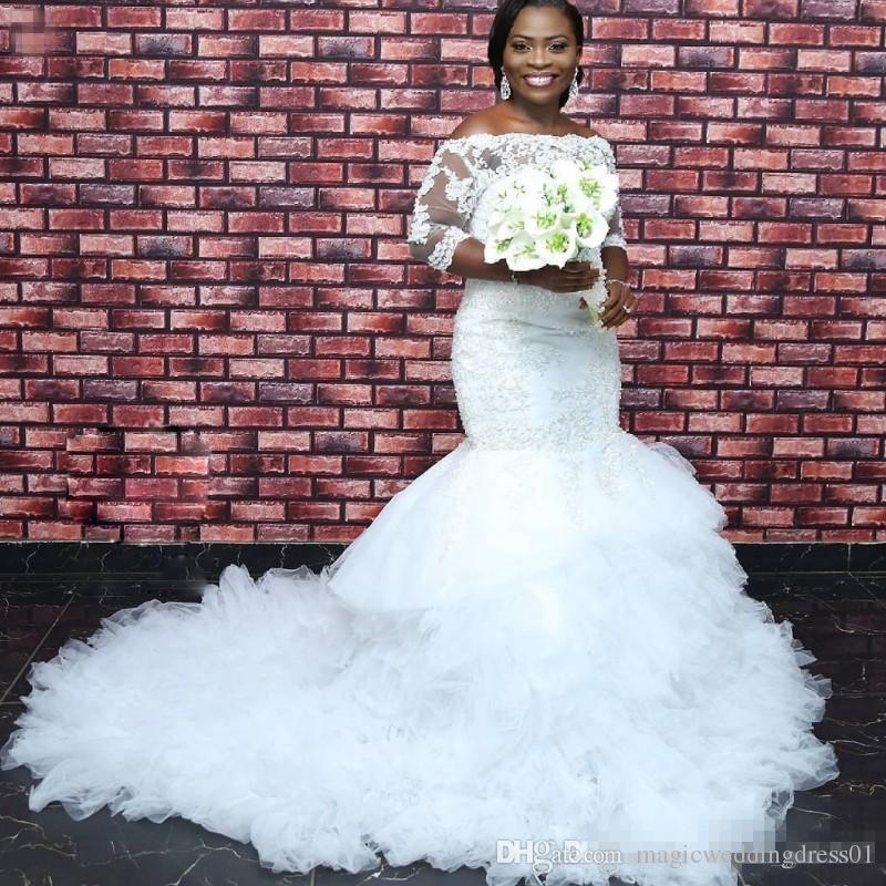 Charmante Afrique Du Sud Robes De Mariée Perles Dentelle Applique 3/4 Manches Longues Plus La Taille Robe De Mariée Fluffy Ruffles Robe De Mariée Sirène