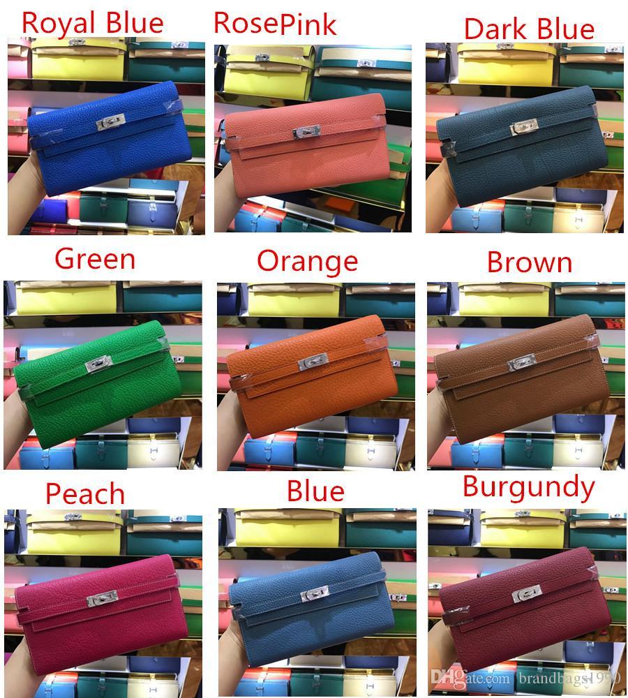 2018 große marke lange brieftaschen karteninhaber geldbörse passbeutel mit schloss mode rindsleder echtes leder brieftasche 24 farben für dame frau