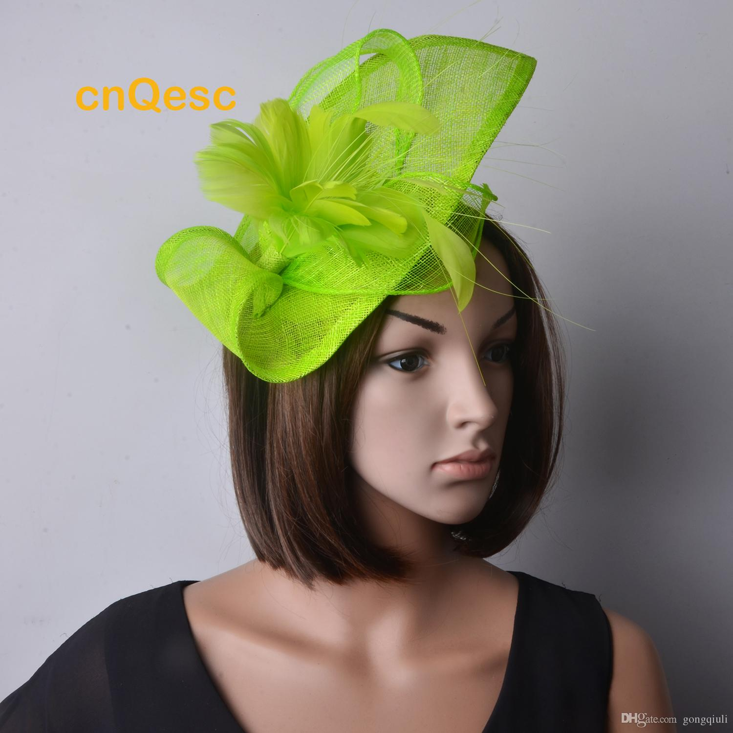65260d8c Neon green Sinamay Fascinator hat Feather Flower for Wedding party mother's  day