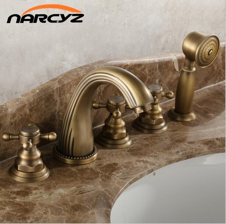2018 Full Copper Hot And Cold Bath Faucet Five Piece European Style ...