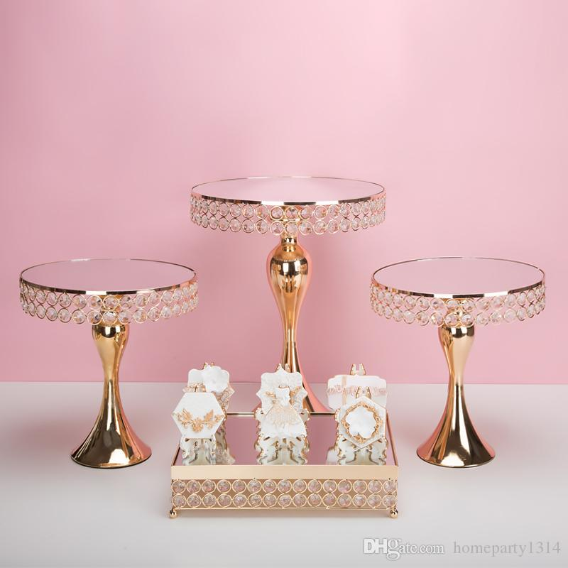 Luxury Gold Crystal cake holder stand cake decorated wedding cake pan cupcake sweet table candy bar table centerpieces decoration