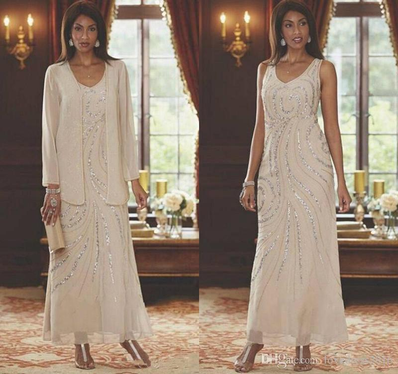Custom Made Beaded Sequins V Neck Ankle Length Chiffon Mother of the Bride Dresses with Long Sleeves Jacke Prom Dress