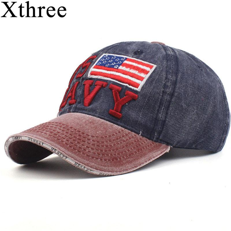 be6f5fefd Xthree 100% Washed Cotton Baseball Caps Men Navy Hat Cap Embroidery  Casquette Dad Hat for Women Gorras snapback