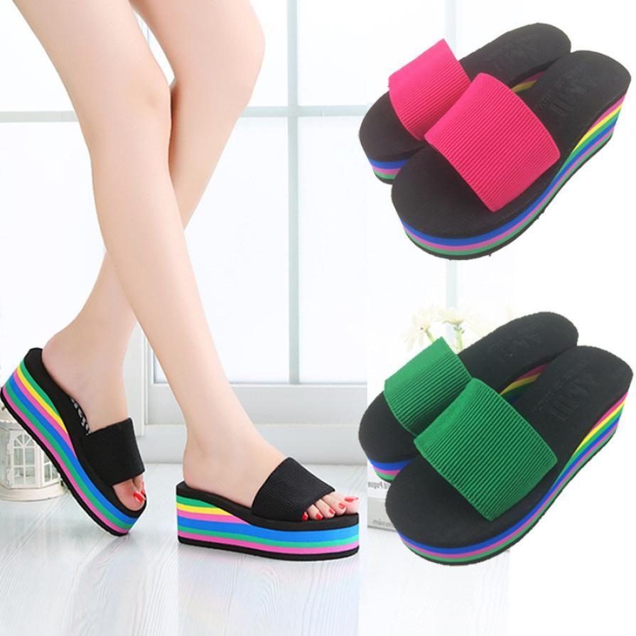 550e9a33b5e8 SAGACE Shoes Flip Flops Summer Fashion Rainbow Non Slip Sandals Female  Beach Slippers Casual Shoes Women 2018JU4 Mens Boots Winter Boots From  Keyhess