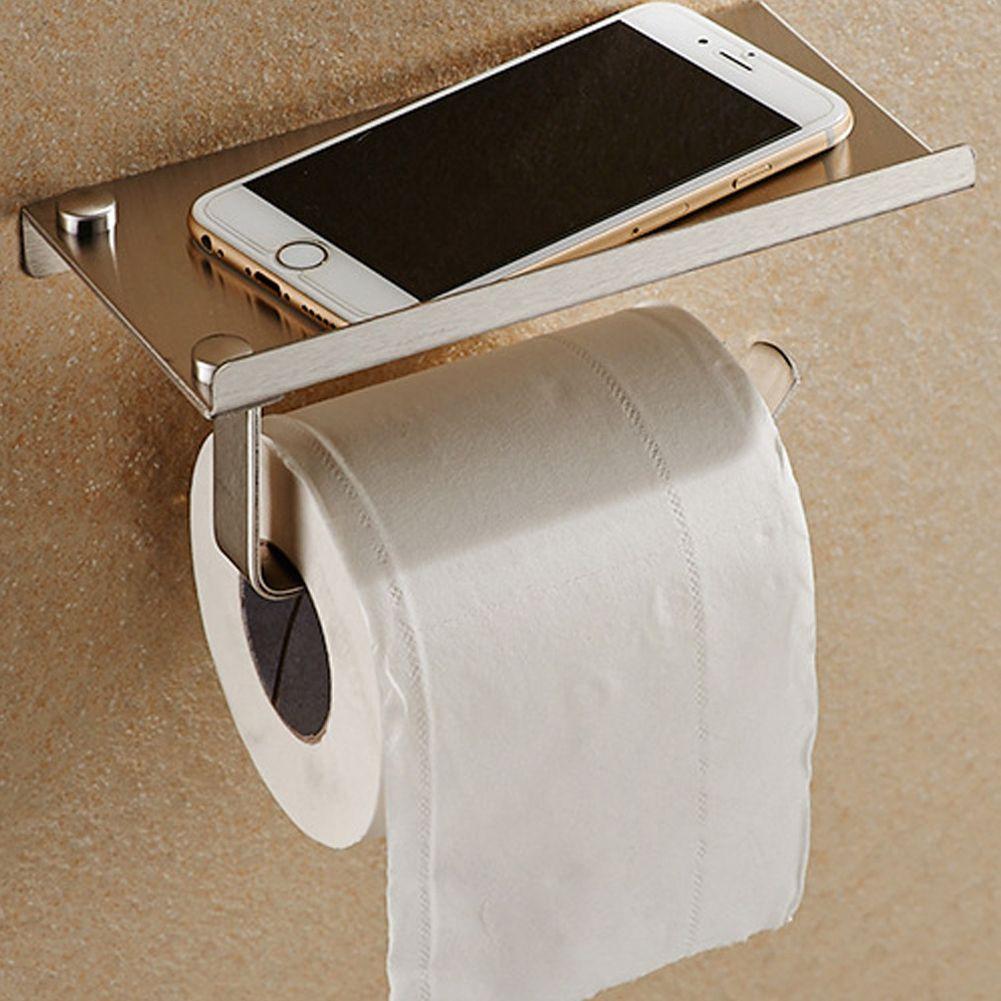Stainless Steel Bathroom Paper Phone Holder with Shelf Bathroom Mobile Phones Towel Rack Toilet Paper Holder Tissue Boxes