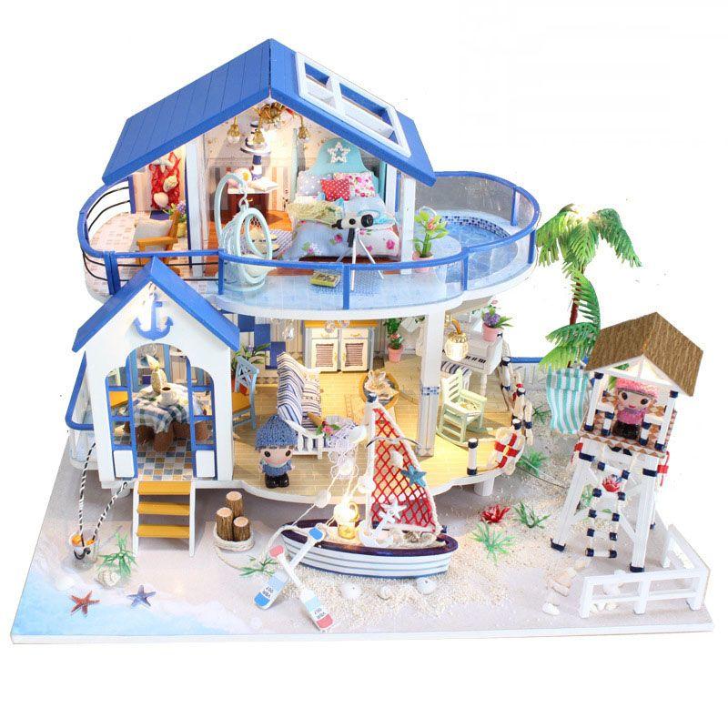 Handmade Poupée Bois Meubles Main Légende Miniature À Jouets La Fille Cadeau Enfants Pour Diy Bleu Mer Dollhouses Kit Maison En 92eDHIYWE