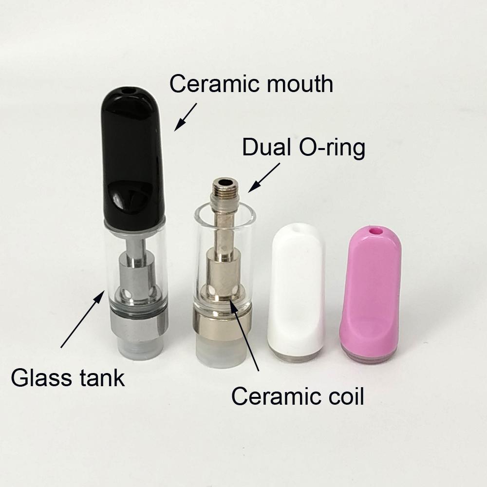 Atomizzatori in ceramica ceramica th210 bianco nero Cartucce di punta in ceramica rosa 510 thread 0.5 / 1ml serbatoio vuoto penna vape batteria M3