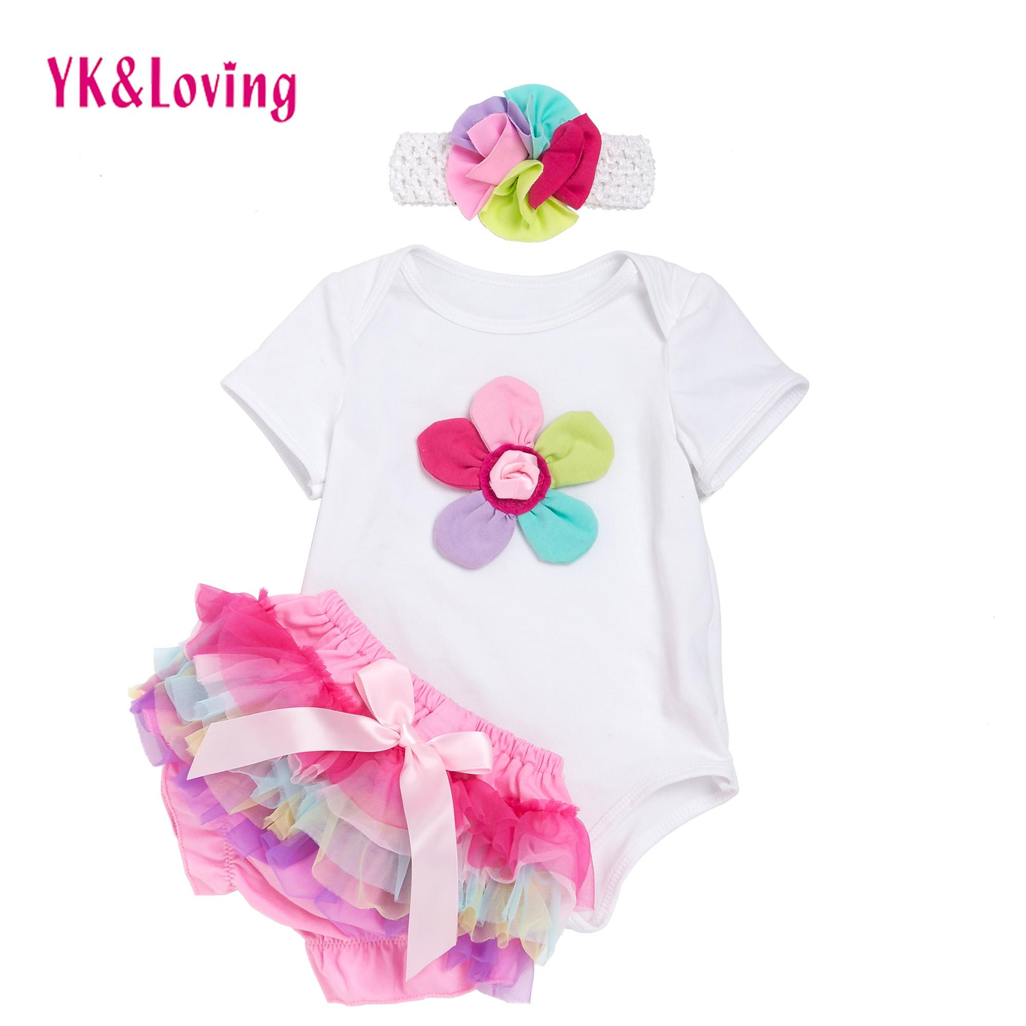 2018 New Summer Baby Girl Clothing Jumpsuit Sets Cotton Rainbow