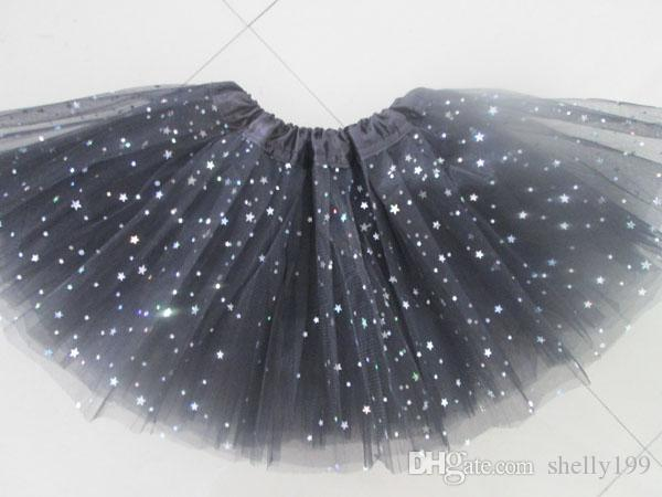 i Neonate Fluffy Mini Skirt Ragazza 3 strati Sequin Balletto Gonna con stelle scintillanti Dress up Tutu Bambini Ragazze Tutus Pettiskirt