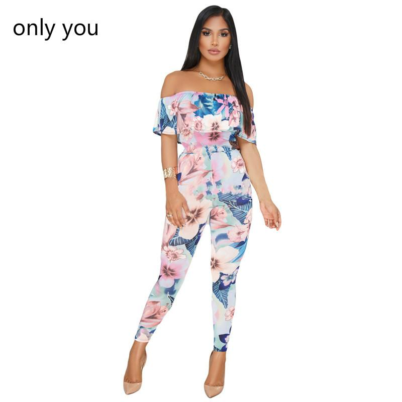 cc0f0bb6a7f 2019 Only You Sexy Rompers Pink Blue Floral Ruffle Off Shoulder Bodycon  Jumpsuit Overalls Women Summer Long Pants Vacation Lc64405 From Balljoy