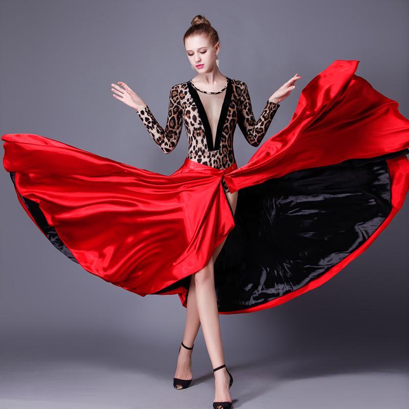 cb36fb8839 Compre Falda De Baile Española Femal Vestido De Baile Latino Rojo Oscuro  Falda De Paso Doble Vestido De Capa Vestido De Mujer A  55.8 Del Primali