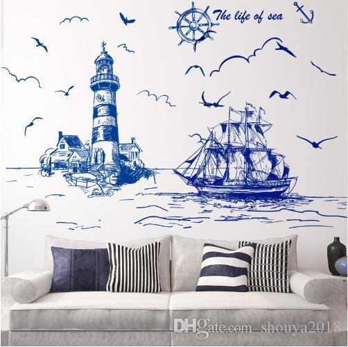 Freies verschiffen Segelboot Leuchtturm Vögel Wandaufkleber Vinyl DIY Wandkunst für Wohnzimmer Dekoration adesivo de parede