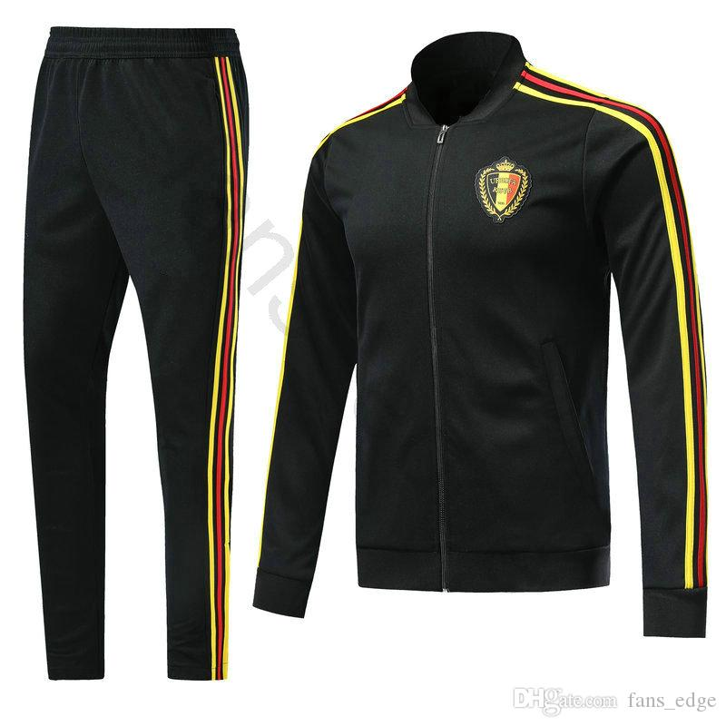 9eec666fa 2018 2018 World Cup Belgium Football Jacket Custom Home Black Soccer  Training Suit Kit Tracksuit Chandal Set Sportswear Sports Long Skinny Pant  From ...