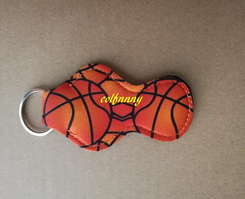 100 шт./лот софтбол корзина мяч футбол бейсбол печатных неопрена гигиеническая помада брелок держатель чехол сумка для хранения партии праздничный подарок