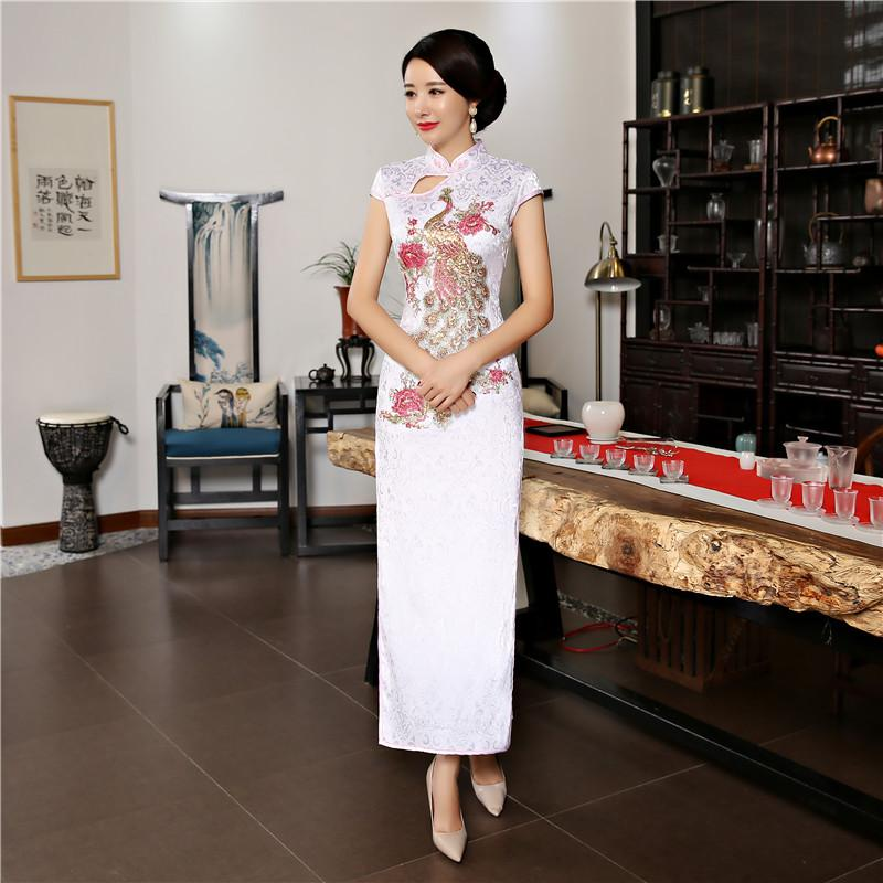 683c5c4998c 2019 Fashion Long Peacock Cheongsam Dresses 2018 Summer New Oriental Chinese  Style Women Silm Qipao Dress Size M 3XL From Baldwing