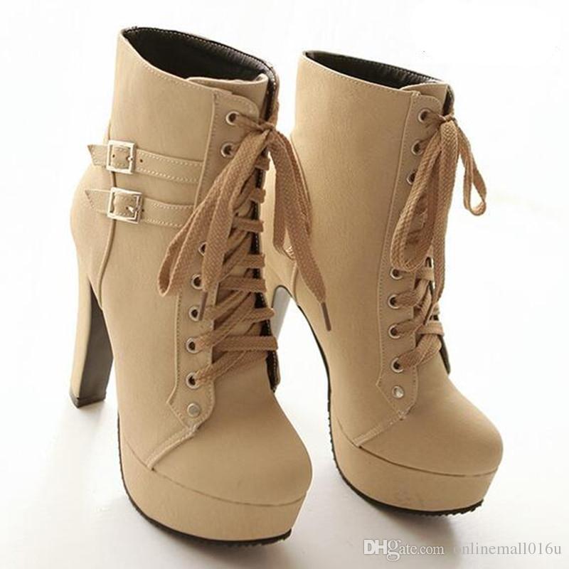 new concept d5fe8 087fd Frauen Schuhe Plus Größe 34-43 Mode Gürtelschnalle Round Toe Lace Up Martin  Stiefel Starke Ferse Winter British Damen Schuhe