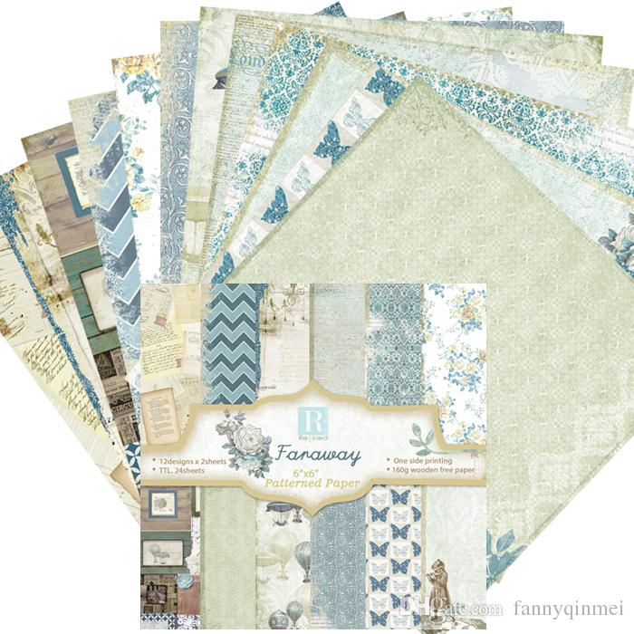"DIY Photo Album Scrapbooking set Decorative Papers Faraway Craft paper 6""inch X 6"" inch Single Side Printed"