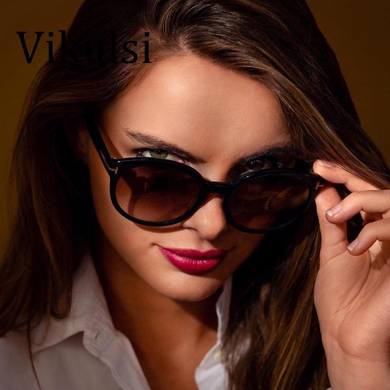 3c80d472dfe3c Compre 2019 Nova Moda Marca Designer Tom Rodada Óculos De Sol Mulheres Cat  Eye Óculos De Sol Do Vintage Sunglass Pontos Gradiente Feminino Tons De  Rainbowwo ...