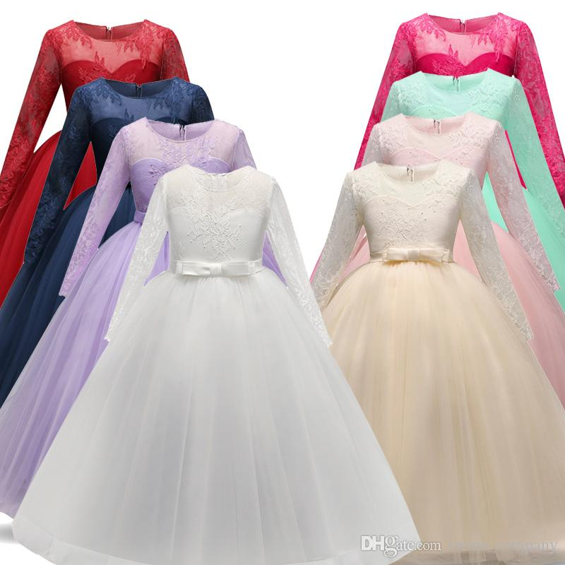 00dae2f225 2019 New Long Fancy Flower Girls Dress For Wedding And Party Dress Kids Bridesmaid  Princess Dress Children Teenage Girls Clothing 5 14 Year From ...