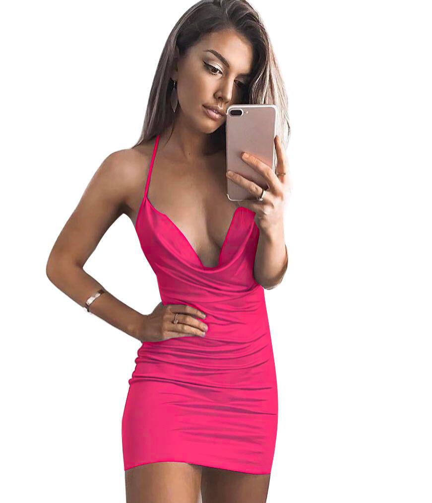 Compre Vestido Para Mujer Elegante Fiesta De Bodas Sexy Night Club Vestido  Sin Mangas Cuello Halter Corto Q3 A  2.02 Del Linshuisheng01  e0f9ca0844b2