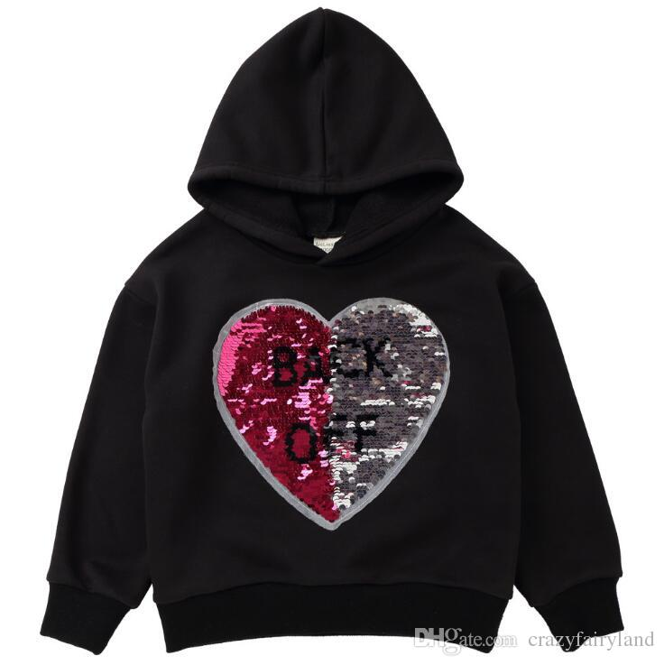 Reversible Sequins Baby Girls Hoodies Clothes Children Sequins Heart Dog Discoloration Sweaters Children Reverse Girls Outerwear Kids Jacket