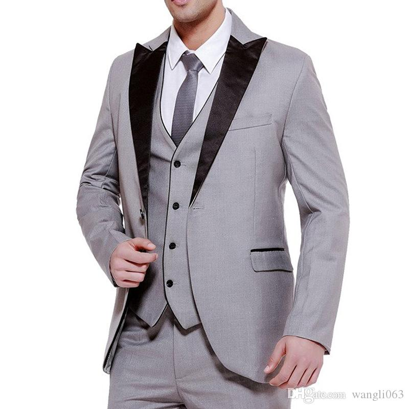 Three Piece Gray Business Party Men Suits Groom Wear 2018 Classic Black Peaked Lapel Wedding Groom Tuxedos Jacket + Vest+Pants