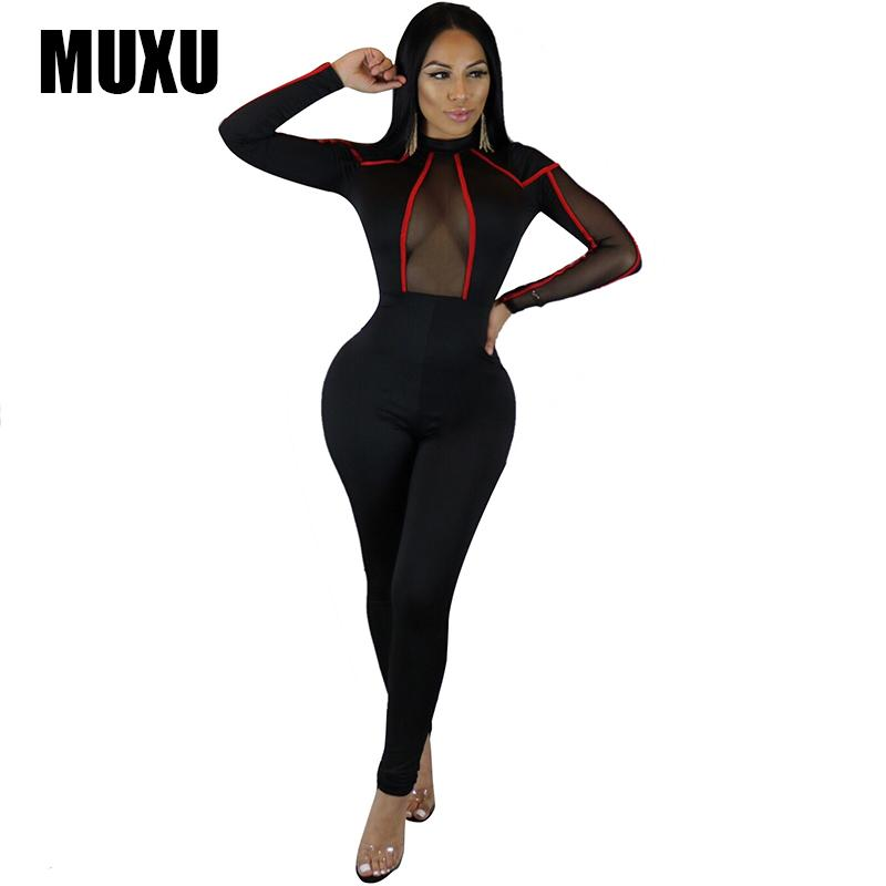 6e954d23571 2019 MUXU 2018 Sexy Bandage Black Women Long Sleeve Long Jumpsuit Lace Body  Mesh Bodysuit Rompers Bodies Crochet Club Transparent New From Lookpack