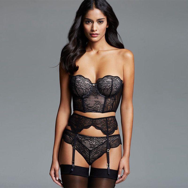 2ba2cc544 Compre Plus Size 3XL 5XL Strapless Bra Liga Panty Set Intimates Mulheres  Lace Meia Copa Lingerie Sexy Underwear Sutiã De Renda Cinto De Paluo