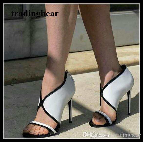 Chic V Cut White Black High Heel Sandals Summer Women Office Shoes 2018 Size  34 To 40 Shoe Sale Shoes Uk From Tradingbear 955239172934